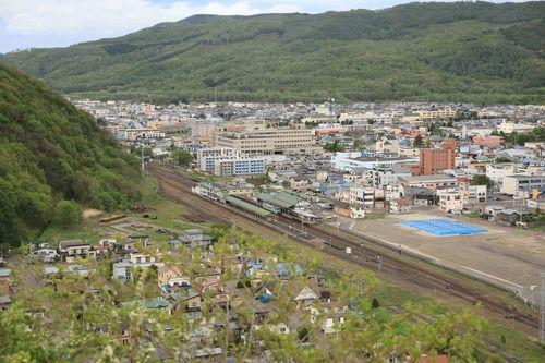 瞰望岩から遠軽駅を俯瞰する