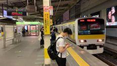 錦糸町駅から普通三鷹行きに乗車してついに退職旅行開始